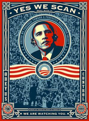 Yes we scan (Shepard Fairey is ok letting activists remix his iconic Obama photo to protest the NSA)
